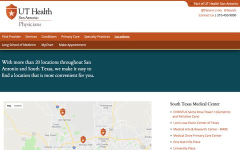 Screenshot of Locations Page Maps & Directions Page uthscsa.edu - Locations | UT Health San Antonio - captured Sept. 20, 2018