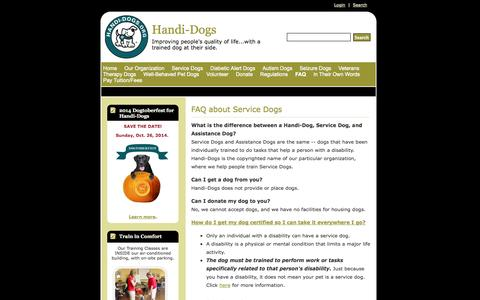Screenshot of FAQ Page handi-dogs.org - FAQ about Service Dogs - Handi-Dogs - captured Oct. 1, 2014