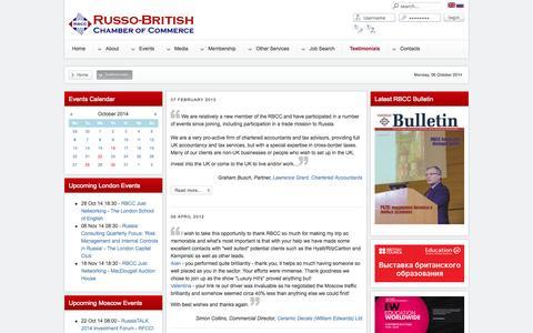Screenshot of Testimonials Page rbcc.com - Testimonials - captured Oct. 6, 2014