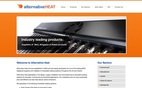 Screenshot of Home Page alternativeheat.co.uk - Alternative Heat - leading suppliers and installers of renewable heating systems throughout Ireland and the UK. - captured Oct. 4, 2014