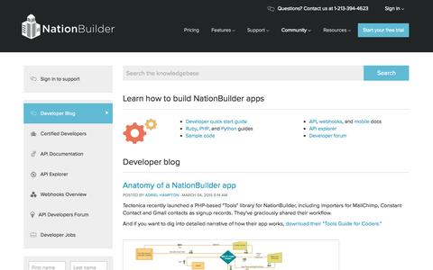 Screenshot of Developers Page nationbuilder.com - NationBuilder Developers - captured Oct. 1, 2015