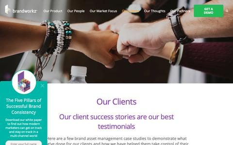 Screenshot of Case Studies Page brandworkz.com - Case Studies | Brandworkz Digital Asset Management - captured Jan. 20, 2019