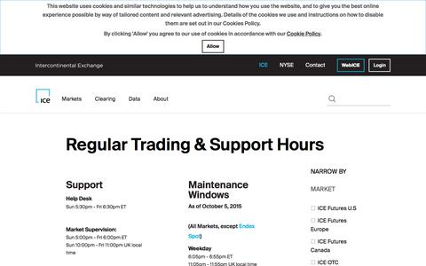Screenshot of Hours Page theice.com - Regular Trading & Support Hours - captured June 2, 2018