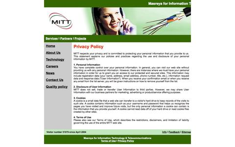Screenshot of Privacy Page mittegypt.com - MITT Egypt - captured Oct. 27, 2014