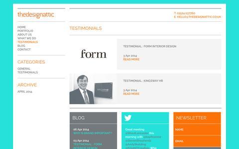 Screenshot of Testimonials Page thedesignattic.co.uk - Testimonials Archives - The Design Attic - captured Sept. 30, 2014