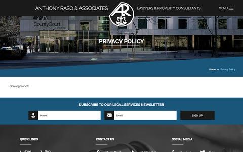 Screenshot of Privacy Page alr.com.au - Privacy Policy - Anthony Raso & Associates - captured Feb. 6, 2016