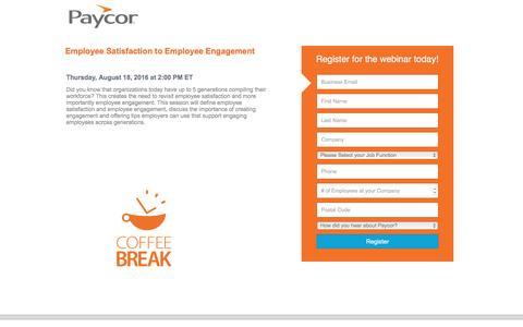 Screenshot of Landing Page paycor.com - Paycor Webinar Registration - captured Aug. 19, 2016