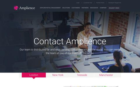Screenshot of Contact Page amplience.com - Contact - Amplience - captured July 12, 2018