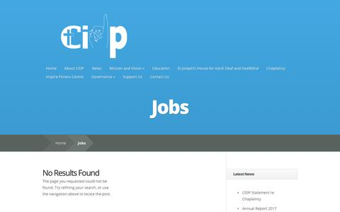 Screenshot of Jobs Page cidp.ie - Jobs | Catholic Institute for Deaf People - captured Oct. 18, 2018