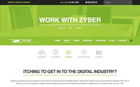 Screenshot of Jobs Page zyber.co.nz - Working With Zyber | Kiwi Web Design And SEO - captured Oct. 9, 2014