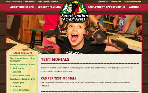 Screenshot of Testimonials Page indianacres.com - Testimonials   Indian Forest Acres - captured Oct. 1, 2014
