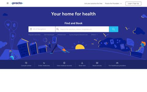 Screenshot of Home Page practo.com - Your home for health | Practo - captured April 9, 2017