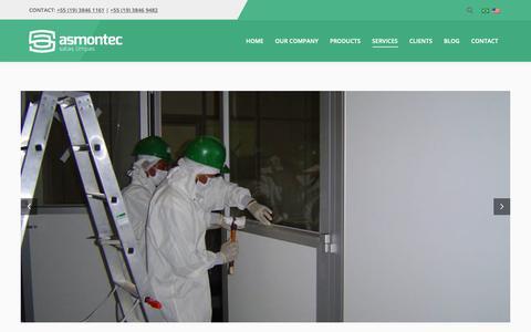 Screenshot of Services Page asmontec.com.br - Serviços Asmontec Salas Limpas - do Projeto à Implantação - captured Nov. 13, 2018