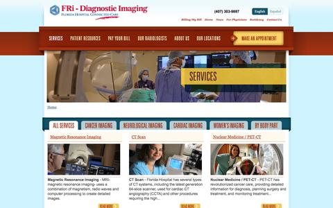 Screenshot of Services Page floridahospitalradiology.com - Services | Imaging Services at Florida Hospital and FRi - captured June 24, 2016