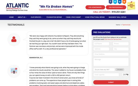 Screenshot of Testimonials Page atlantic-foundation.com - Testimonials - Atlantic Foundation & Repair - captured Oct. 4, 2018
