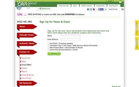 Screenshot of Signup Page episencial.com - Sign Up for News & Deals | Episencial - captured Nov. 5, 2014
