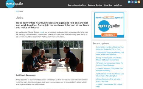Screenshot of Jobs Page agencyspotter.com - Ruby Developer Jobs At Agency Spotter | Agency Spotter Blog - captured Sept. 11, 2014
