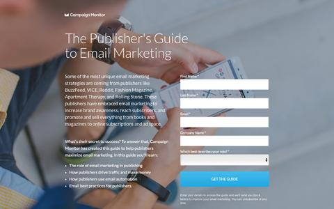 Screenshot of Landing Page campaignmonitor.com - Publishers Guide to Email Marketing | Campaign Monitor - captured Aug. 17, 2016