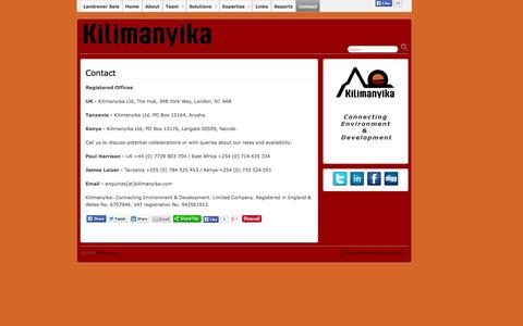 Screenshot of Contact Page kilimanyika.com - Contact » Kilimanyika - captured Oct. 6, 2014