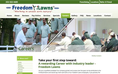 Screenshot of Jobs Page freedomlawnsofpittcounty.com - Freedom Lawns of Pitt County - captured Oct. 23, 2018