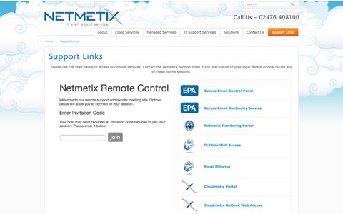 Screenshot of Login Page netmetix.net - Support Links - captured Oct. 26, 2014