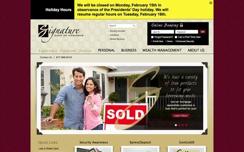 Screenshot of Home Page sbofa.com - Signature Bank of Arkansas   Fayetteville - Springdale - Bentonville - NWA - captured Feb. 14, 2016