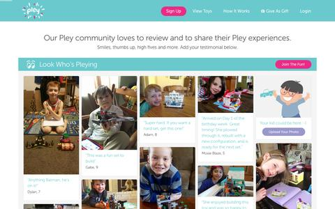 Screenshot of Testimonials Page pley.com - Pley reviews |  Pley | Rent the coolest toys including LEGO®, American Girl and other amazing toys - captured Feb. 16, 2016