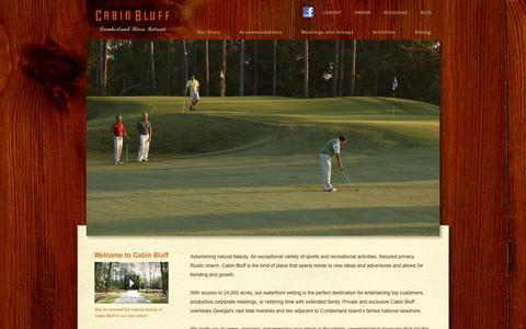 Screenshot of Home Page cabinbluff.com - Cabin Bluff - Cabin Bluff, Cumberland River Retreat (GA): Exclusive Corporate Retreat Location for Corporate Getaways and Company Retreats - Cumberland River Retreat - captured Sept. 26, 2014