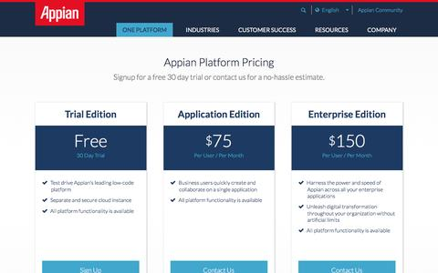 Screenshot of Pricing Page appian.com - Appian Platform Pricing - captured May 17, 2017
