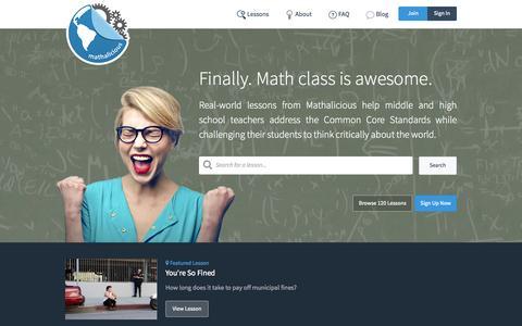 Screenshot of Home Page mathalicious.com - Mathalicious - captured July 27, 2015