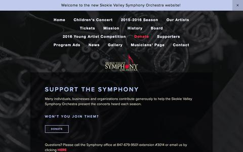 Screenshot of Support Page svso.org - Donate — Skokie Valley Symphony Orchestra - captured March 10, 2016