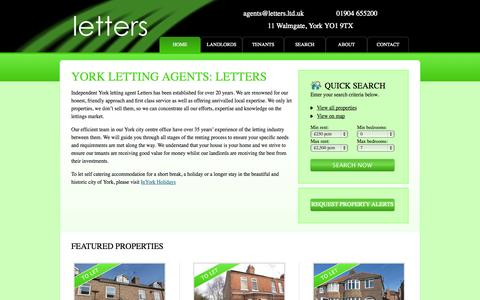 Screenshot of Home Page letters.ltd.uk - York Letting Agents | Letting Agents in York | Letters - captured Oct. 2, 2014