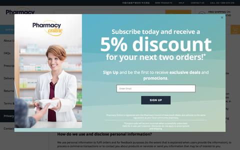 Screenshot of Privacy Page pharmacyonline.com.au - Privacy Policy - captured July 17, 2018