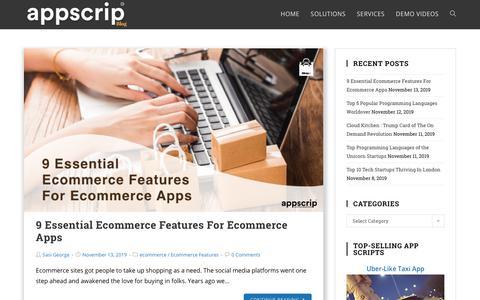 Screenshot of Blog appscrip.com - Appscrip Blog | For Startups & Entrepreneurs - captured Nov. 13, 2019