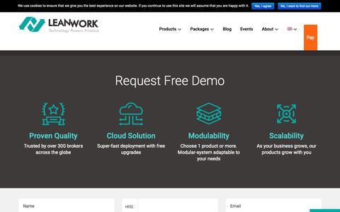 Screenshot of Trial Page lwork.com - Request Free Demo - LeanWork - captured Nov. 10, 2018