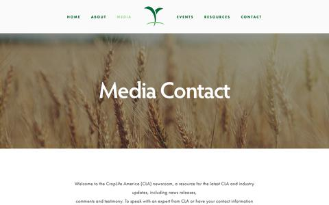 Screenshot of Press Page croplifeamerica.org - Media Contact — CropLife America - captured Feb. 14, 2019