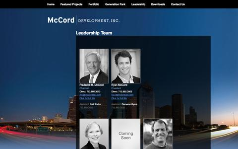 Screenshot of Team Page mccorddev.com - McCord Development, Inc | Leadership Team - captured Oct. 27, 2014