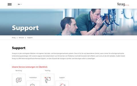 Screenshot of Support Page denipro.com - Support | Ferag AG - captured Oct. 8, 2018
