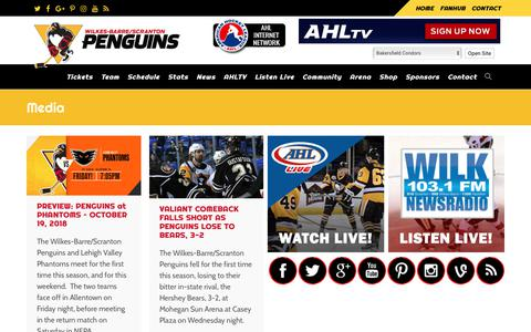 Screenshot of Press Page wbspenguins.com - Media   Wilkes-Barre / Scranton Penguins - captured Oct. 19, 2018