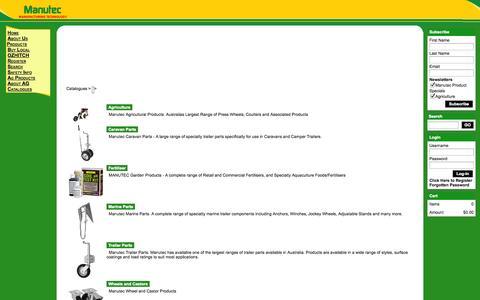 Screenshot of Products Page manutec.com.au - Manutec -    Products - captured Oct. 4, 2014