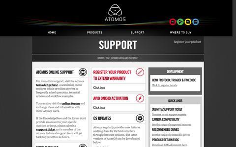 Screenshot of Support Page atomos.com - Support   Atomos - captured Sept. 18, 2014
