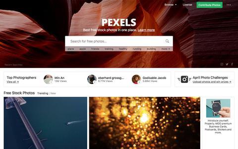 Screenshot of Home Page pexels.com - Free stock photos · Pexels - captured April 24, 2018