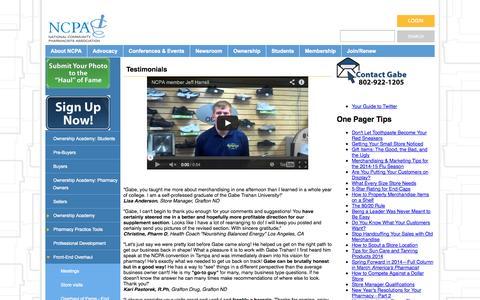 Screenshot of Testimonials Page ncpanet.org - Testimonials - captured Oct. 26, 2014