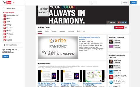 Screenshot of YouTube Page youtube.com - X-Rite Color  - YouTube - captured Oct. 29, 2014