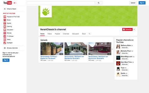 Screenshot of YouTube Page youtube.com - VeranClassic's channel  - YouTube - captured Nov. 5, 2014