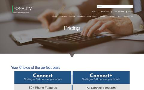 Screenshot of Pricing Page fonality.com.au - Fonality Solutions - Communication Solutions that Fit Your Business Needs - captured Oct. 10, 2018