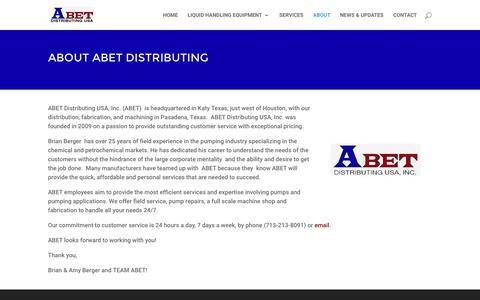Screenshot of About Page abetdistributing.com - About Us - Abet Distributing USA - captured Nov. 19, 2016