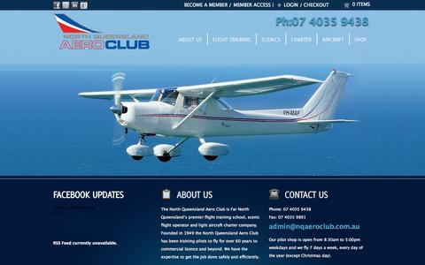 Screenshot of Home Page nqac.com.au - Home | North Queensland Aero Club - Flight Training, Scenic Flights & Charters - Cairns - Far North Queensland - captured Oct. 7, 2014