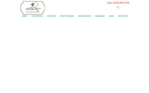 Screenshot of Home Page wilsonlf.com - an estate plan for every family - andover, massachusetts - wash, dc - captured Oct. 9, 2014