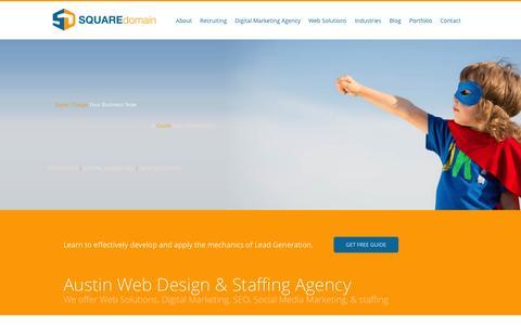Screenshot of Home Page squaredomain.com - Austin Web Design & Staffing Agency - SquareDomain - captured Jan. 11, 2016